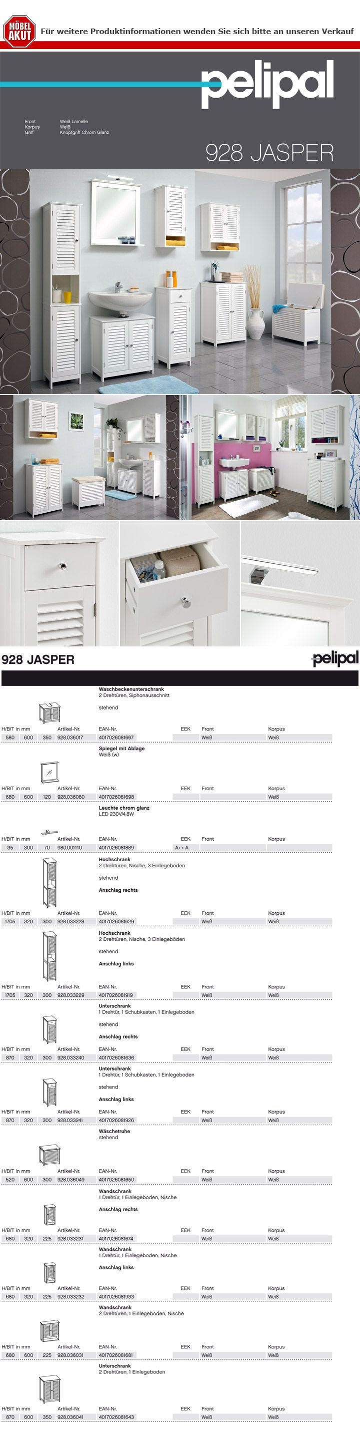 Pelipal Badezimmer Jasper Badmöbel Set In Weiß Mit Lamelle Und