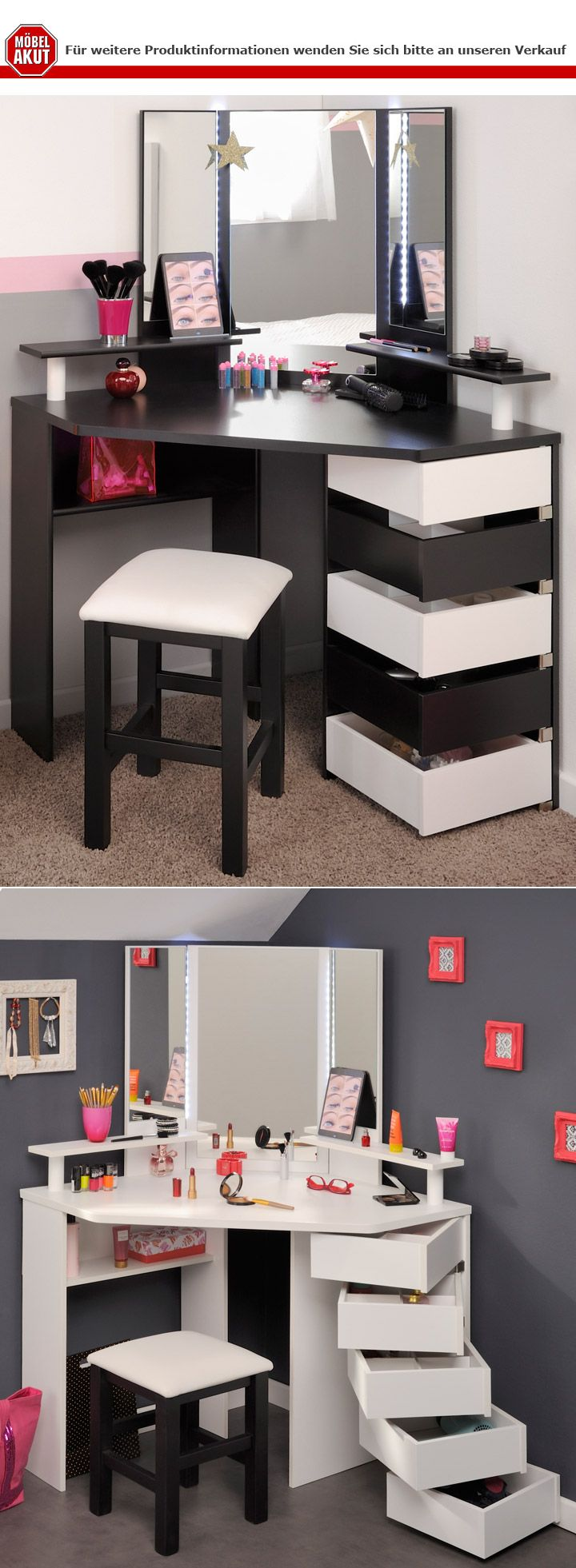 eck schminktisch mit hocker volage schwarz wei frisiertisch mit led beleuchtung 4059236043431. Black Bedroom Furniture Sets. Home Design Ideas