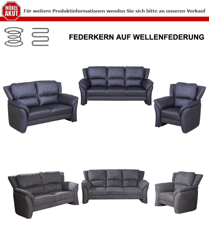 Garnitur 3 2 1 Pisa Polstergarnitur Sofa Sessel Polstermöbel Schwarz