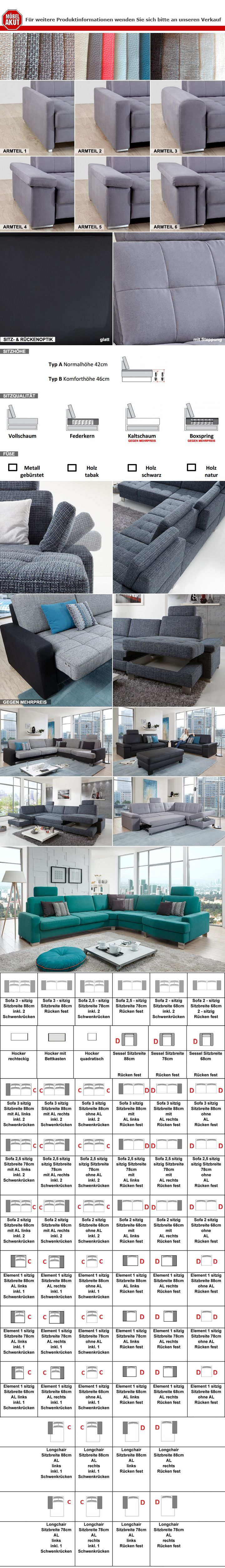 Sofa Puzzle 2 Sitzer 2er Couch Polstermöbel in Lederlook schwarz