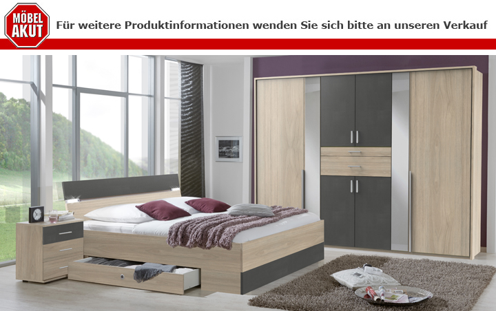 Schlafzimmer Xanten Set Bettanlage Nachtkommoden Kleiderschrank