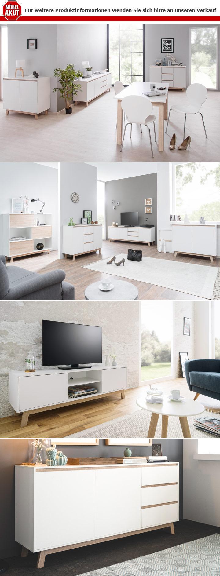 Sideboard Apart 3 Anrichte Kommode Schrank in weiß und Sonoma Eiche 200 cm