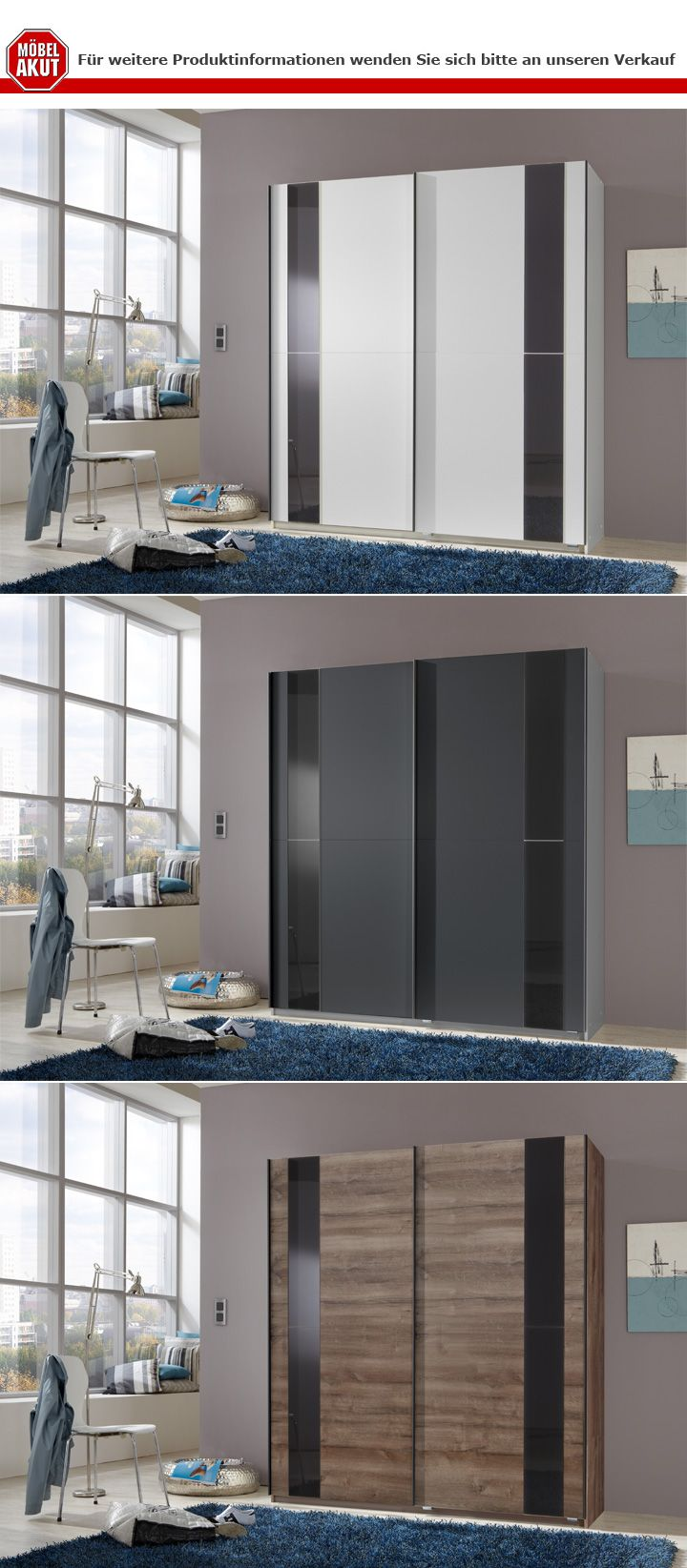 Schwebetürenschrank Kiel Kleiderschrank Schrank in weiß mit Glas in ...