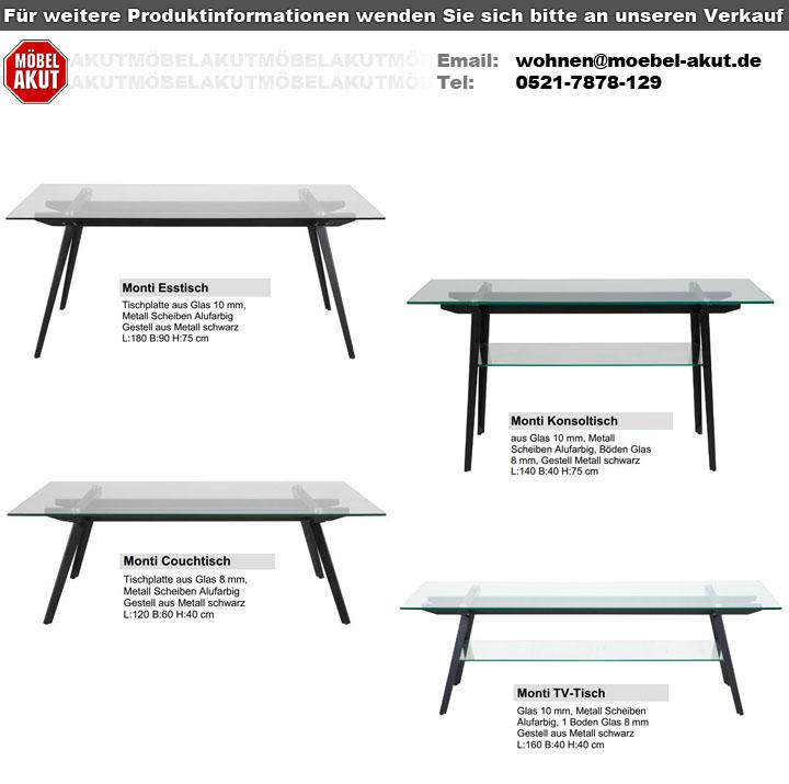 Details Zu Esstisch Monti Wohnzimmer Tisch Platte Glas Gestell Aus Metall Schwarz 180x90 Cm
