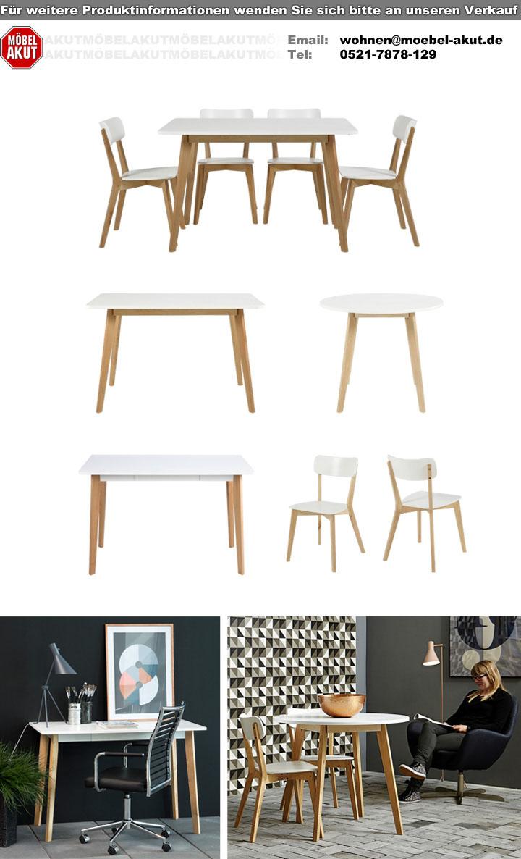 Tisch Raven 120x80 cm Küchentisch Esszimmertisch in Birke und weiß ...