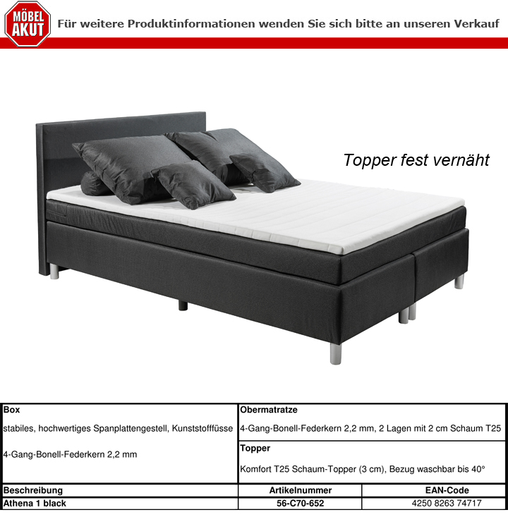 boxspringbett cena in stoff schwarz mit bonell federkern inkl topper 140x200 cm ebay. Black Bedroom Furniture Sets. Home Design Ideas