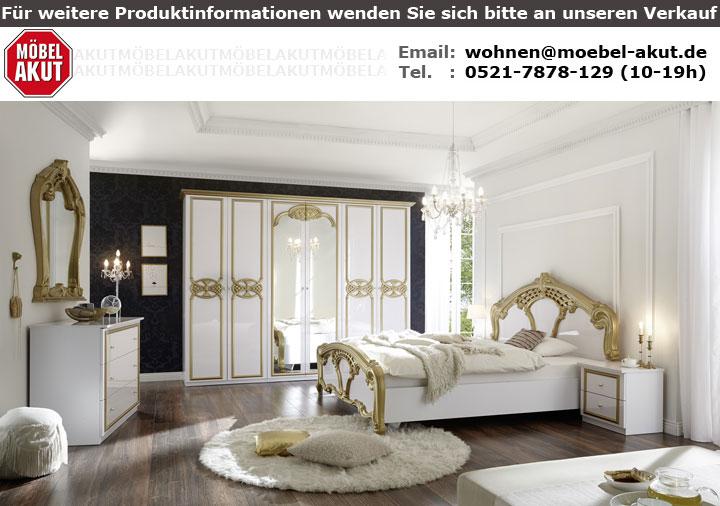 Kommode mit Spiegel CLAUDIA weiß Lack gold Barock-Stil