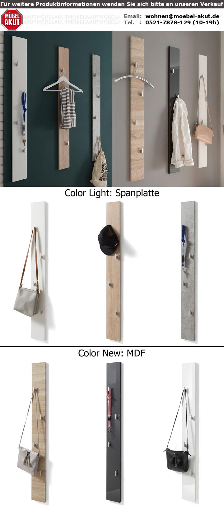 Paneel Wandpaneel Garderobe Wandgarderobe Flur Diele Color New MDF Eiche Sonoma