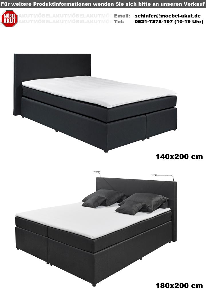 boxspringbett eva schlafzimmer bett doppelbett in schwarz mit topper 140x200 ebay. Black Bedroom Furniture Sets. Home Design Ideas