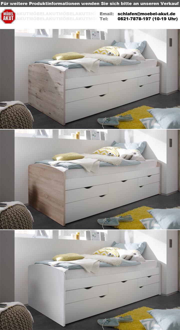 kojenbett nessi kinderbett hochbett wei sandeiche 90x200. Black Bedroom Furniture Sets. Home Design Ideas