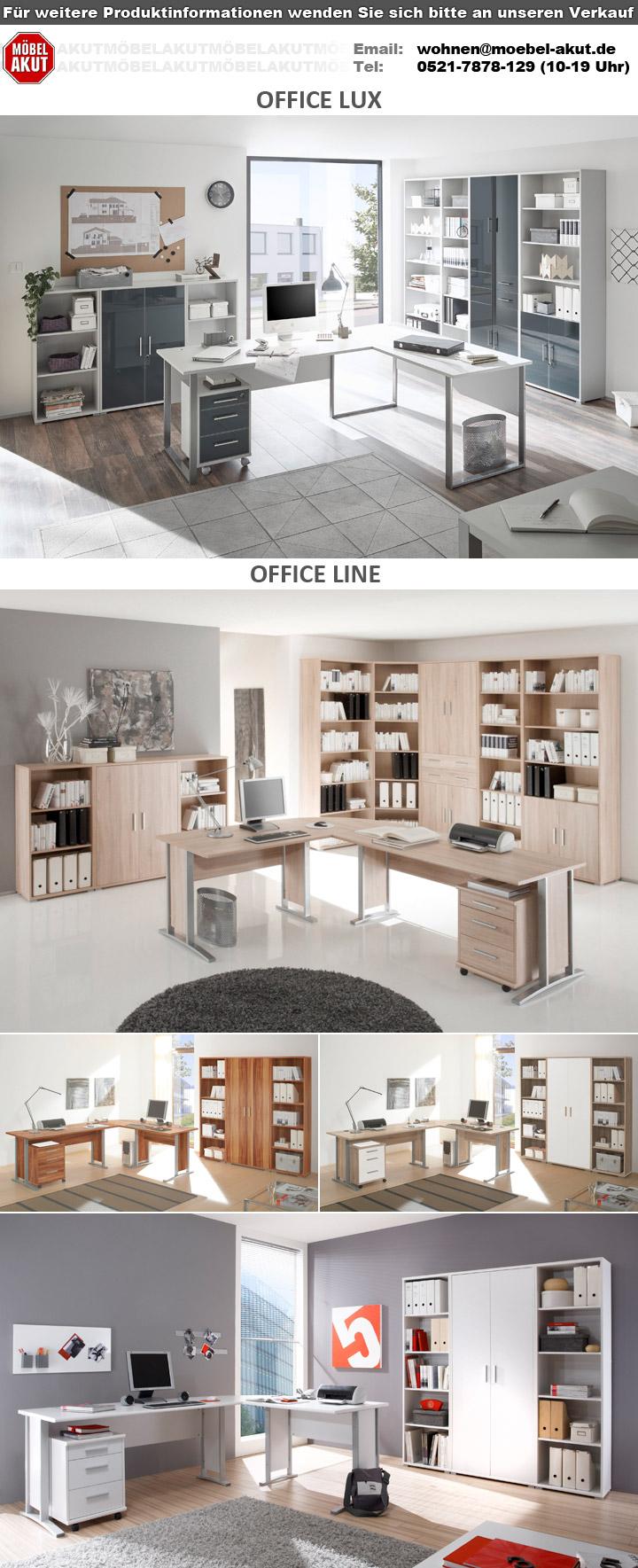Buro Office Lux Komplettset Lichtgrau Weiss Glas Graphit Lack 9 Teilig