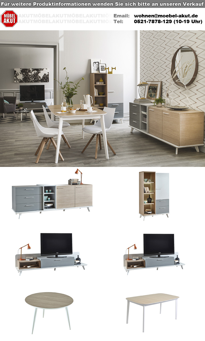 sideboard block kommode eiche aragon wei perl grau. Black Bedroom Furniture Sets. Home Design Ideas