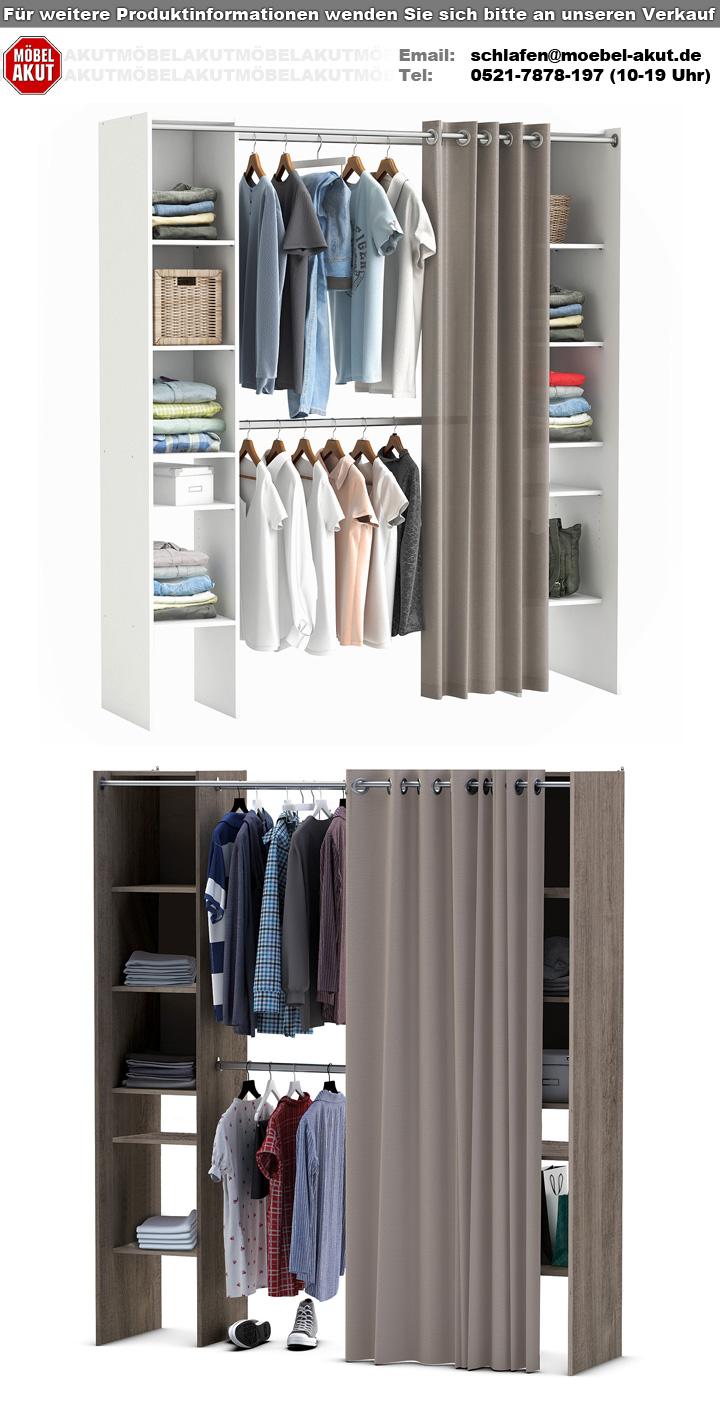 kleiderschrank fantastic prata eiche verstellbar vorhang. Black Bedroom Furniture Sets. Home Design Ideas