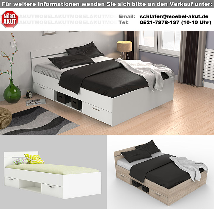 bett michigan sonoma eiche mit schubk sten 140x200 cm. Black Bedroom Furniture Sets. Home Design Ideas