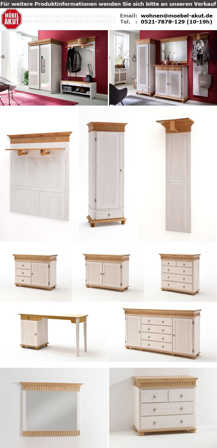 sideboard helsinki in kiefer massivholz wei und natur. Black Bedroom Furniture Sets. Home Design Ideas