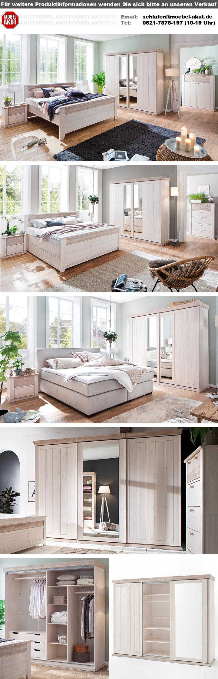 Schlafzimmer GÖTEBORG 4-tlg Set Kiefer massiv weiß Milan mit Schweber
