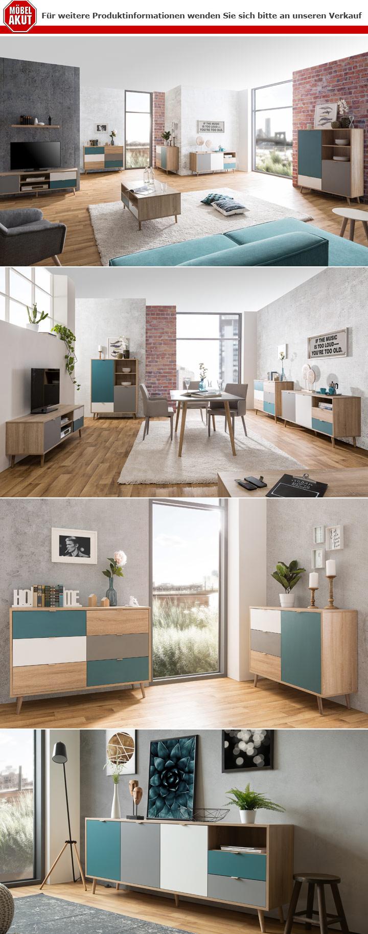 sideboard cuba kommode anrichte sonoma eiche wei grau. Black Bedroom Furniture Sets. Home Design Ideas