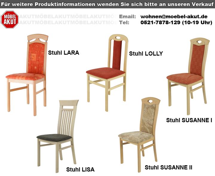 2er Set Stuhl LISA Holzstuhl In Webstoff Braun Und Buche
