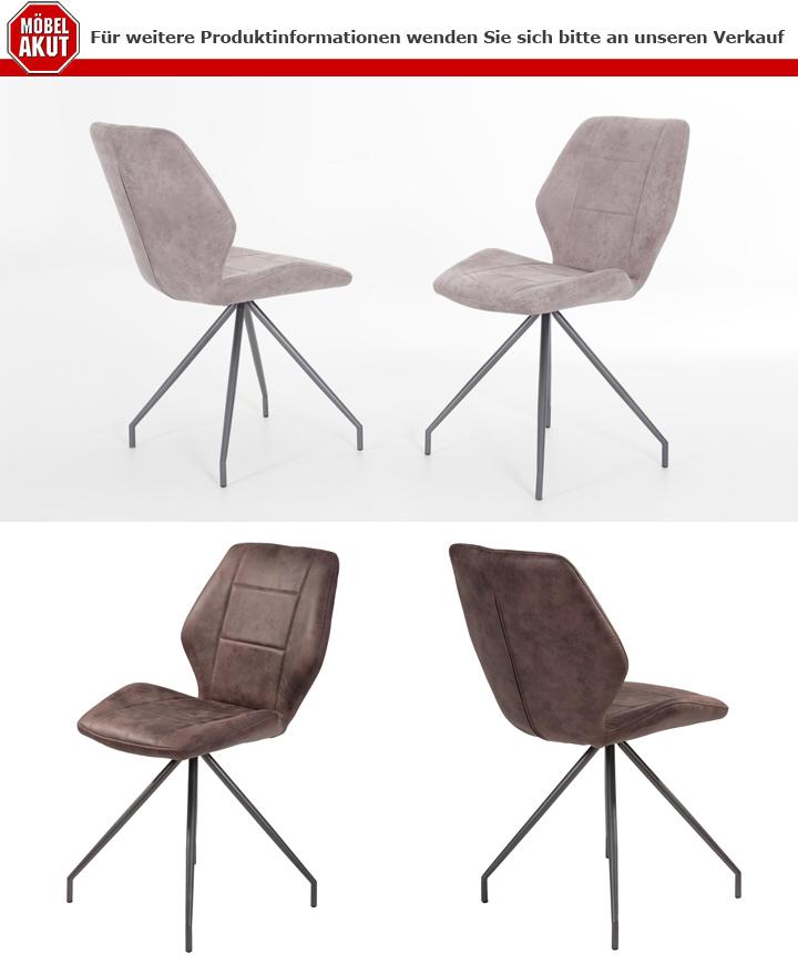 stuhl isabell 4er set in microfaser vintage braun mit. Black Bedroom Furniture Sets. Home Design Ideas