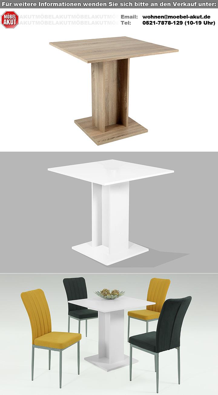 s ulentisch mandy tisch esstisch k chentisch wei 80x80 cm. Black Bedroom Furniture Sets. Home Design Ideas