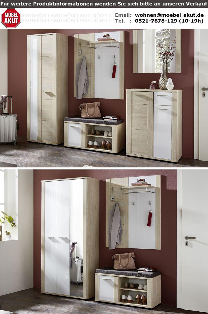 garderobe artello set 3 tlg flurgarderobe r ster hell wei hochglanz. Black Bedroom Furniture Sets. Home Design Ideas