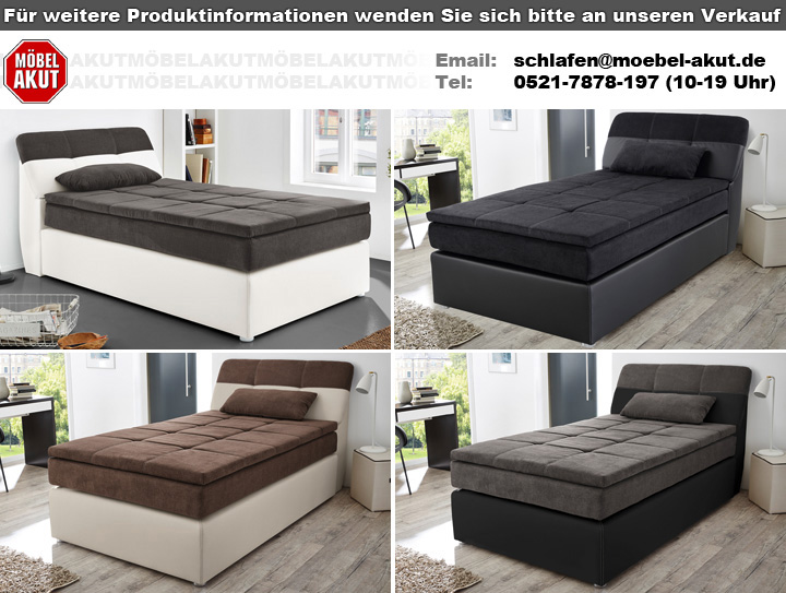 boxspringbett odessa bett in schwarz grau mit topper 120x200. Black Bedroom Furniture Sets. Home Design Ideas