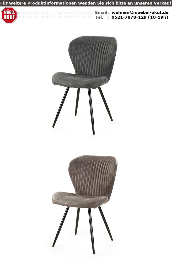 Stuhl 2er Set Duren Esszimmerstuhl Sessel Vintage Anthrazit Schwarz