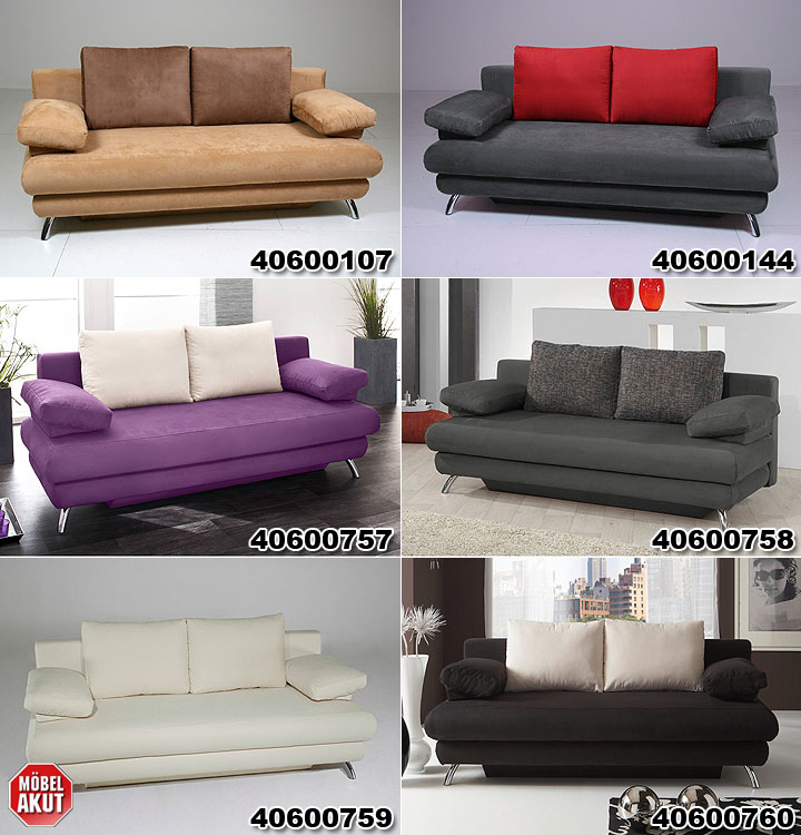doppelschlafsofa aldo mit bettfunktion in anthrazit rot. Black Bedroom Furniture Sets. Home Design Ideas