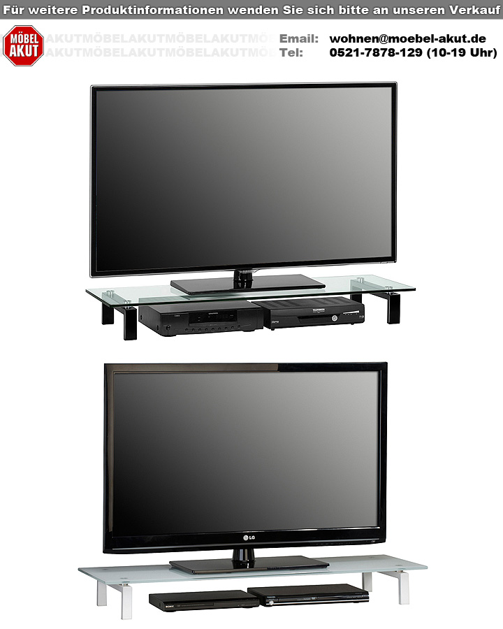 tv board maja 1605 lowboard metall wei mit wei glas. Black Bedroom Furniture Sets. Home Design Ideas