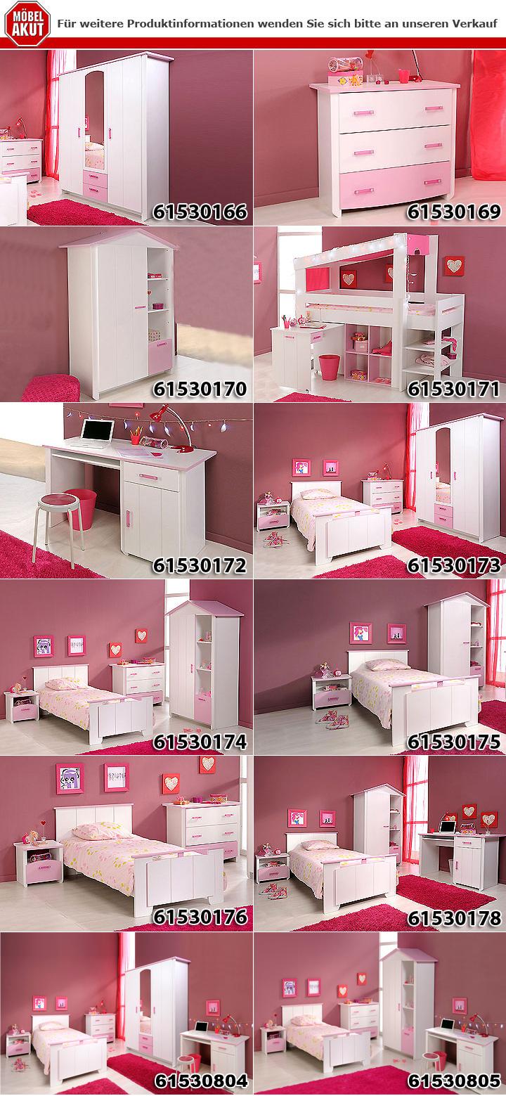 kinderzimmerset beauty i schrank kommode bett wei und rosa. Black Bedroom Furniture Sets. Home Design Ideas
