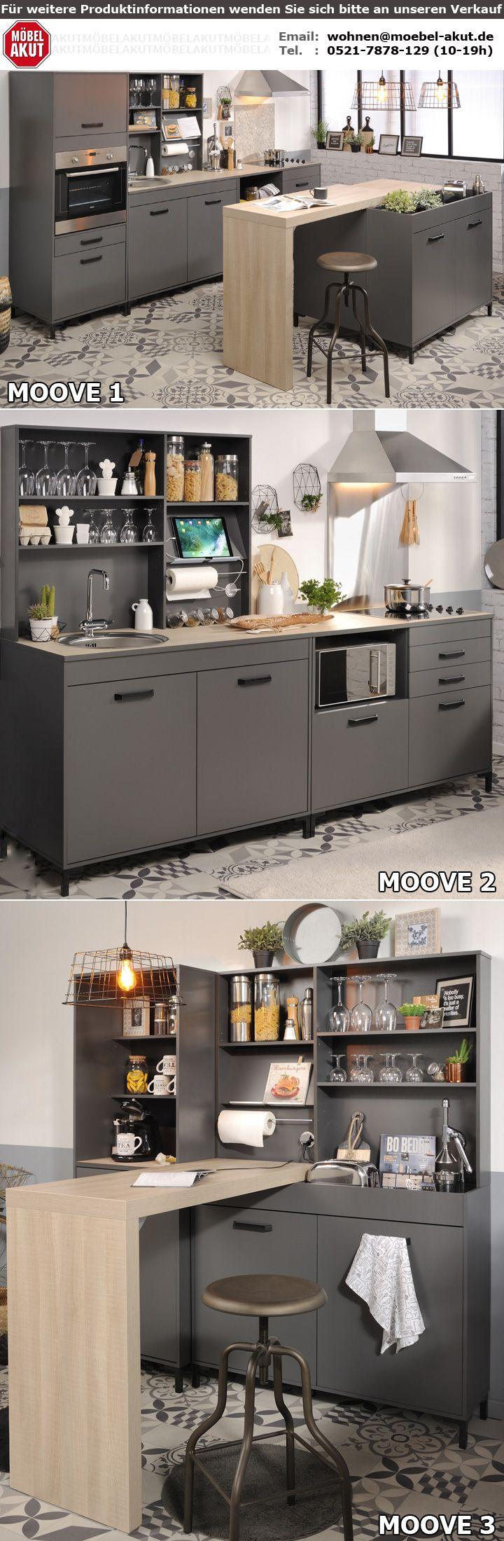 Küche MOOVE 1 Einbauküche Küchenzeile grau und Eiche hell 7-teilig