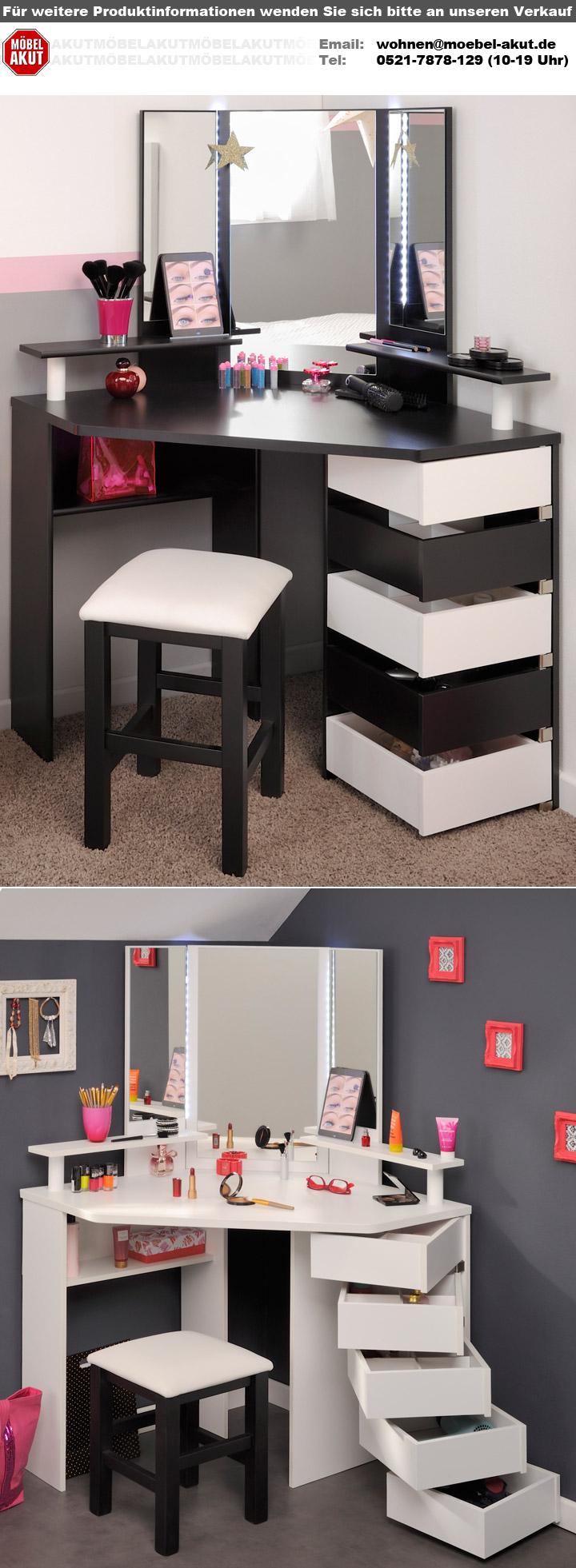 eck schminktisch volage in frisierkommode wei mit led beleuchtung. Black Bedroom Furniture Sets. Home Design Ideas