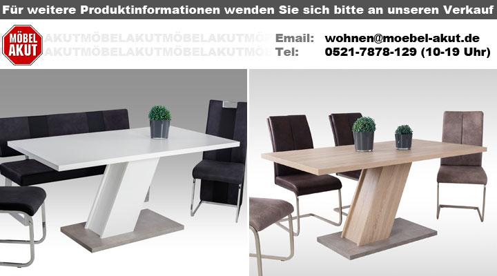 Esstisch innsbruck tisch in wei und betonoptik mit s ulenfu for Mann mobilia ka