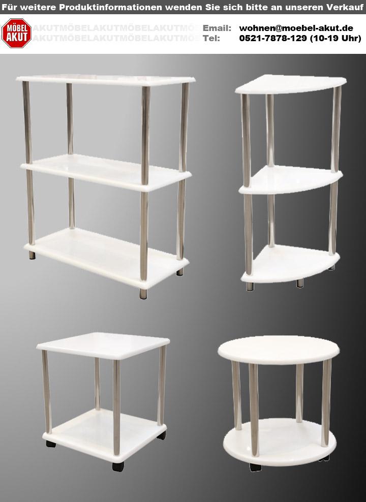 regal kiki 1 eckregal in wei hochglanz und edelstahl. Black Bedroom Furniture Sets. Home Design Ideas