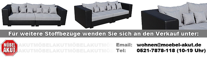 sofa king size schwarz und grau inkl kissen 265 cm. Black Bedroom Furniture Sets. Home Design Ideas