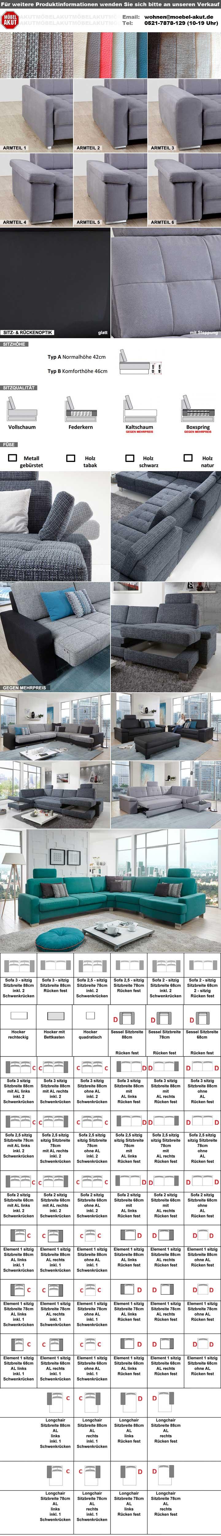 Sofa PUZZLE 2 Sitzer in Echtleder schwarz mit Federkern Breite 208 cm