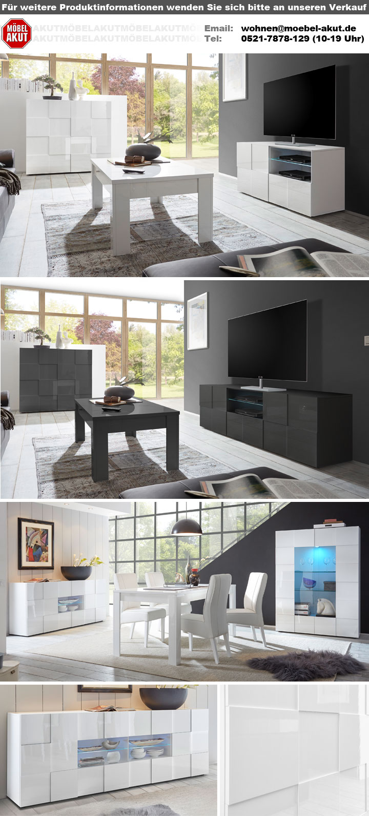 sideboard dama 3 kommode in wei lack 241 cm. Black Bedroom Furniture Sets. Home Design Ideas