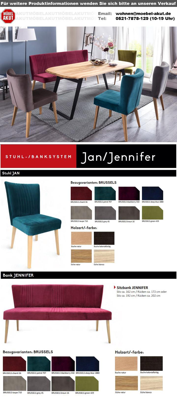 bank jennifer sitzbank in eiche bianco und stoff braun. Black Bedroom Furniture Sets. Home Design Ideas
