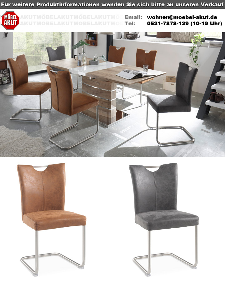 schwingstuhl leya 4er set stuhl in microfaser braun und. Black Bedroom Furniture Sets. Home Design Ideas