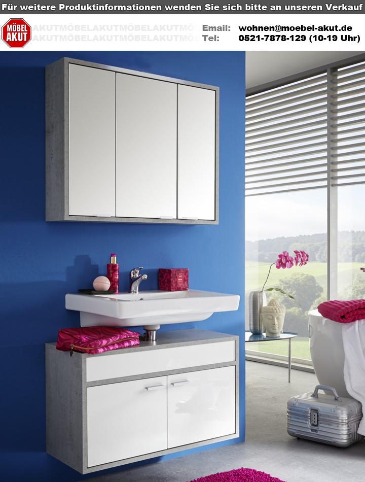badezimmer set spa wei glanz beton industry grau. Black Bedroom Furniture Sets. Home Design Ideas