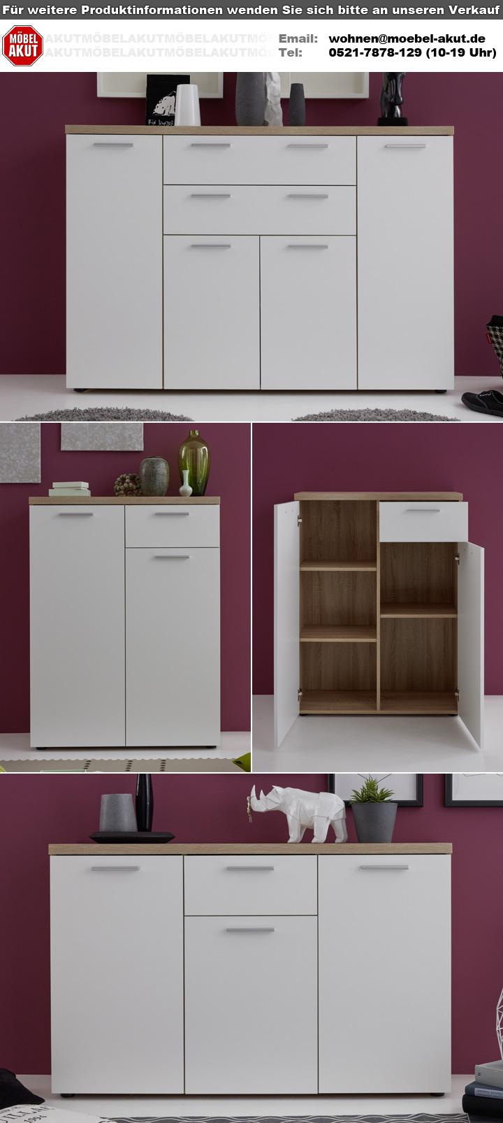 kommode bravos schrank anrichte in eiche s gerau hell und wei mit 3 t ren ebay. Black Bedroom Furniture Sets. Home Design Ideas