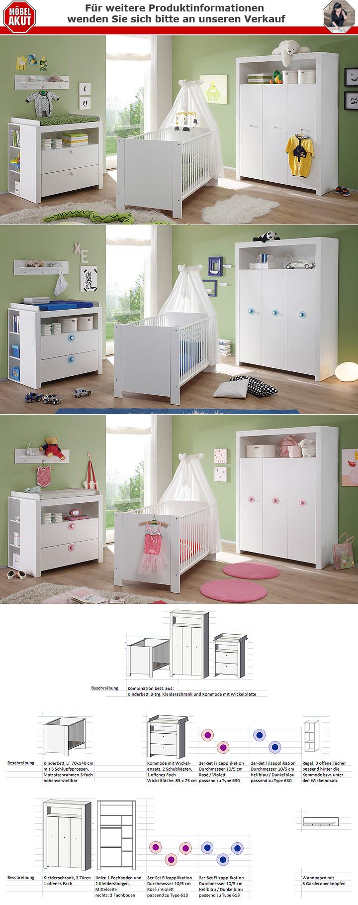 Babyzimmer Set Olivia Kinderzimmer In Weiss 3 Teilig