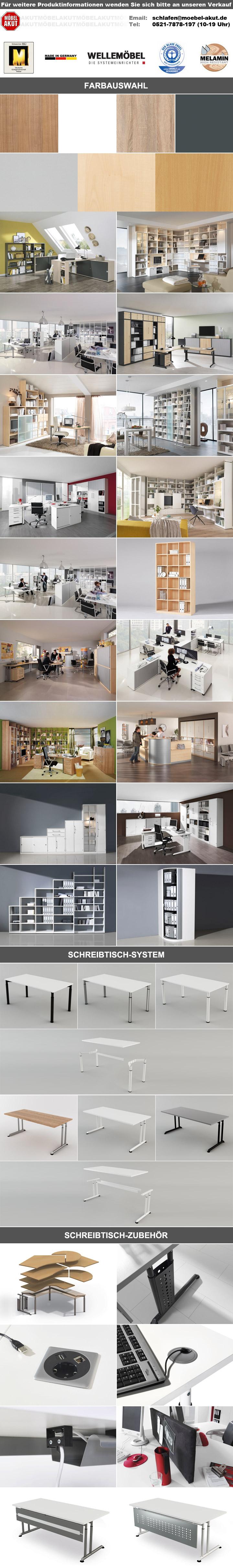 Drehregal HYPER Eckschrank Eckregal Büromöbel in weiß von Wellemöbel