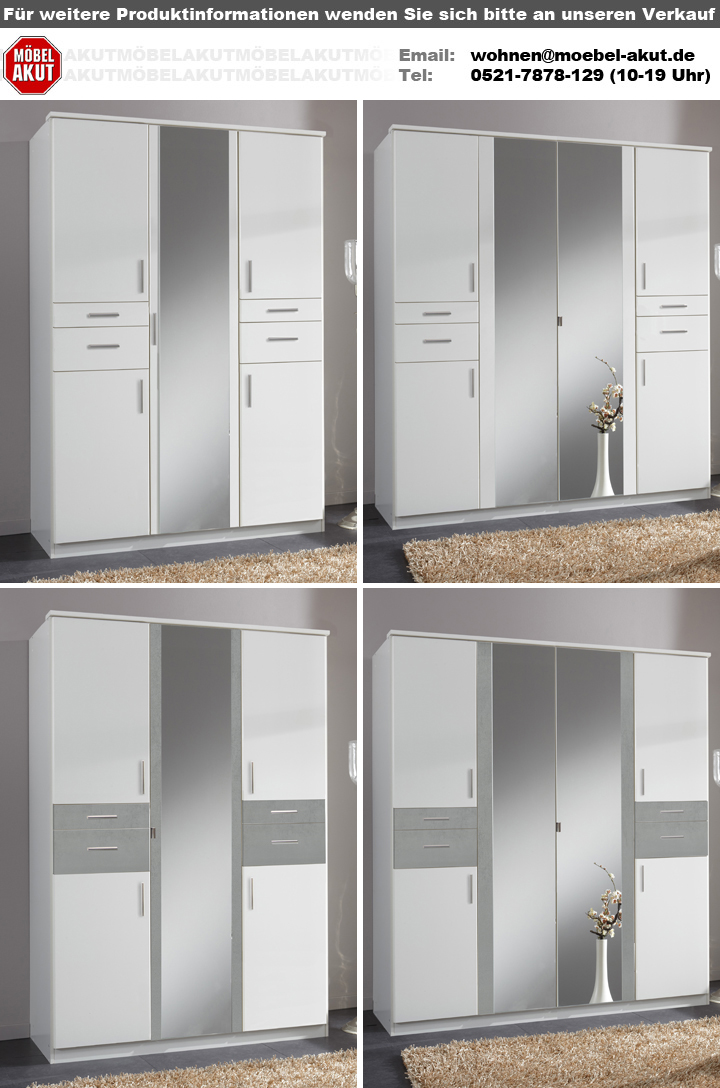kleiderschrank koblenz 180 cm dreht renschrank wei beton lichtgrau spiegel. Black Bedroom Furniture Sets. Home Design Ideas