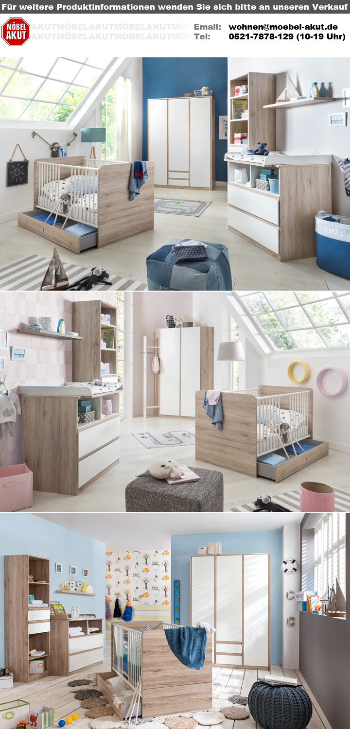 babyzimmerset bianca bett schrank wickelkommode in wei san remo eiche. Black Bedroom Furniture Sets. Home Design Ideas
